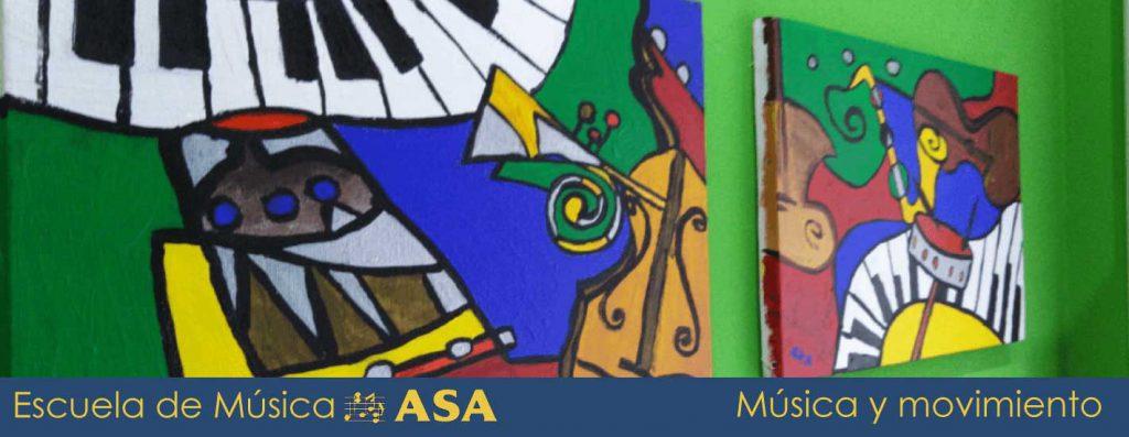 Vista de dos cuadros, para ilustrar las clases de música y movimiento